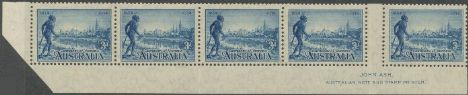 SG 148a 1934 3d Centenary of Victoria perf 11½ imprint strip (AG6/231)